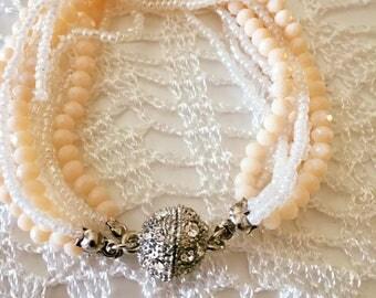 Handmade bracelet,Pave cz bead bracelet, peach czech bracelet