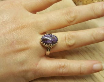 Sterling silver purple Charoite ring. Reiki jewelry. Violet Flame ring. Adjustable ring uk