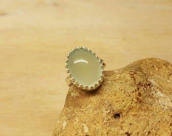 Aqua Chalcedony ring. Sterling silver Adjustable ring. Reiki jewelry uk. 16x12mm Green semi precious stone