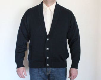 Vintage 80s Navy Blue Wool Blend Jacket Knitted Mens  Dark Blue Nautical Slouchy Shoulder Shawl Collar Cardigan Size 54