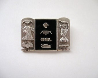 1940s Egyptian Revival Brooch, Sterling Silver and Onyx Brooch