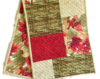 Fall or Autumn Quilted Table Runner in Green, Orange, Red and Gold, Autumn Table Cloth, Fall Table Scarf, Fall Table decor, Quiltsy Handmade
