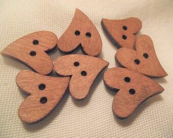 WOOD HEART BUTTONS,Craft Buttons,Sewing Notion,2 Hole Brown Heart Buttons,20mmx20mm Natural Wood Buttons,10 pc Button Set,Scrapbook Button