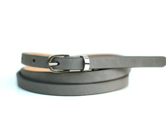 Free shipping! Leather belt, gray belt, woman belt, light gray belt, gray leather belt, skinny belt, waist belt, narrow belt