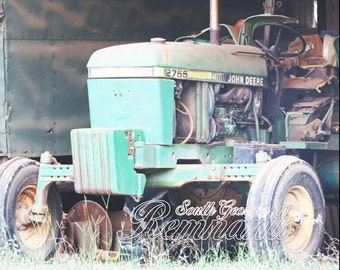 Vintage John Deere Tractor.Green Tractor.Tractor Photography.Farm Photography.Country Rustic.Printable Download.Man Cave Art.