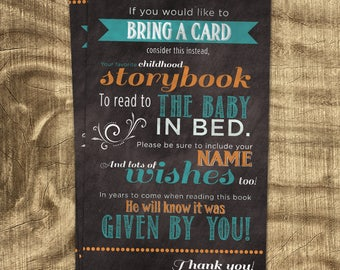 Book instead of card insert, Bring a book for baby, Stock the Library, Bring a Children's book instead of a Card, Chalkboard baby shower