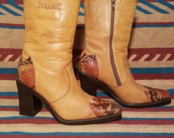 Leather Vintage Boots Durango with Snake Print