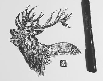 KillerBeeMoto: Original Pen Sketch of Elk