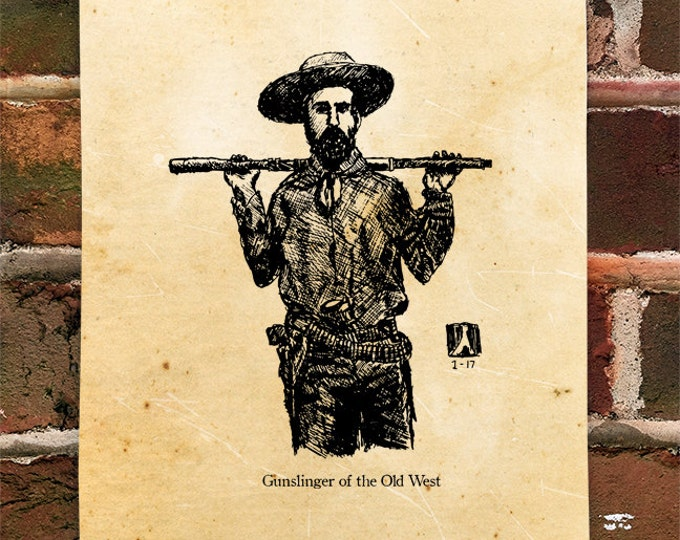 "KillerBeeMoto: Limited Hand Drawn Print of ""Gunslinger of the Old West"" Print 1 of 100"