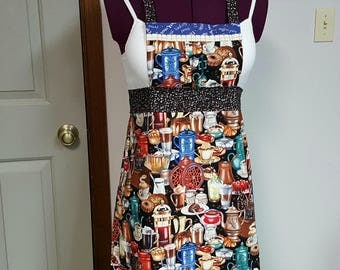 Womens Coffee Apron - Blue and Brown Cafe Apron,  Kitchen Apron with Coffee Fabrics