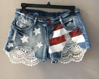 American flag hand painted shorts