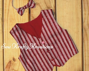 Boy's Vest - Christmas Vest and Matching Bow Tie
