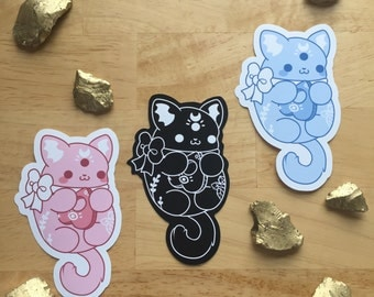 Kawaii Occult Kitty Sticker - ( Cute goth pastel black pink blue bow ouija moon bat crystal cat cats kitties halloween stickers )