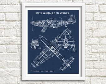"P-51 Mustang Blueprint, P51 Mustang art, Instant Download, Blueprint Art, Mustang Airplane, P-51 Mustang decor, 8x10"", 11x14"""