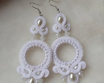 White earrings for the bride and not only. Light, almost  earring