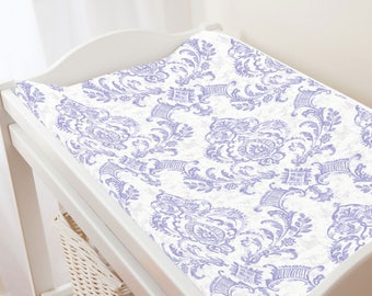 Carousel Designs Lilac Painted Damask Changing Pad Cover