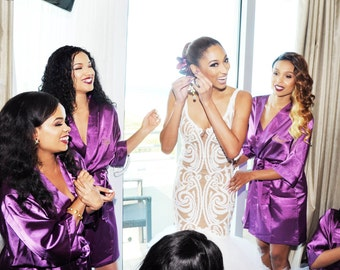 SALE Ships in 10 Days Bridesmaids Robes Purple Set of 3 SATIN Robes 2 Purple and 1 White Bride Bridesmaids Gift Bridal Robe