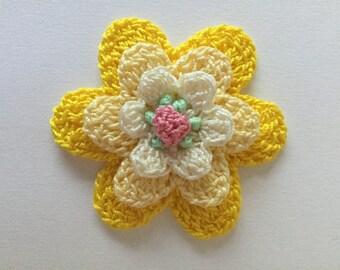 Yellow Crochet Flower- Applique- Embellishments- Scrapbooking
