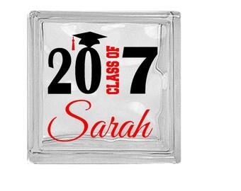 Graduate, Class of 2017, decal for DIY Glass Block, Decal, Sticker. Graduation Party decor