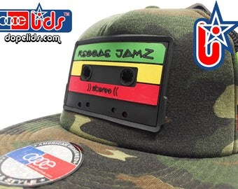 smARTpatches Truckers Vintage Style Reggae Jamz Mixtape Cassette Trucker Hat Cap by lidstars headwear