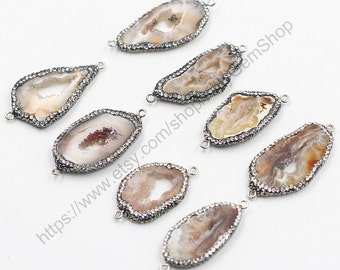 Agate Druzy Connectors -- Pave Cz Zircon Diamonds Wholesale Drusy Druzzy Druzy Connector Charms CQA-011