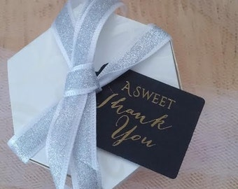 A Sweet Thank You Wedding Anniversary Graduation Birthday Bridal Baby Shower Sweet 16 Quinceanera Favor Tags Metallic Foil Gold Black Navy +