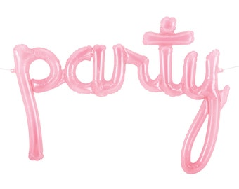Party Script Balloon Banner - Clear Pink