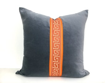 Gray Velvet Pillow Cover with Orange Ribbon and Orange Greek Key Trim