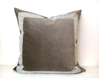 Grey Pillow Cover with Greek Key Trim