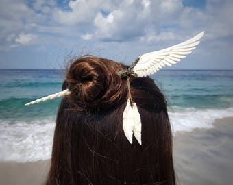 Angels Wing Unicorn Pegasus Hair Stick - Hand Carved Bone - Free Gift Box- Feather Tribe
