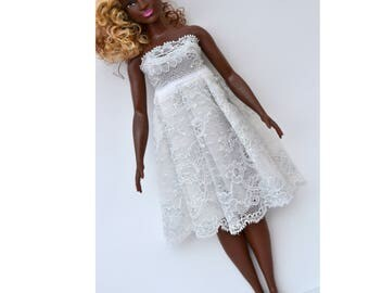 Curvy Barbie wedding dress -Handmade Barbie Clothes-Curvy Barbie Clothes