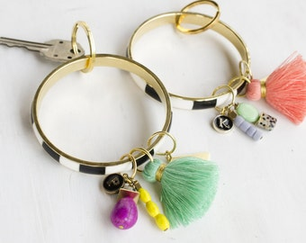 Bangle & Charm Keychain, tassel and brass geometric bangle, gift for her, bridesmaid gifts, mother's day gift, ships in 3-5 business days