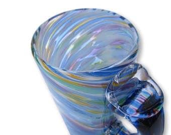 Hand Blown Glass Mug in Multi-colored pattern-