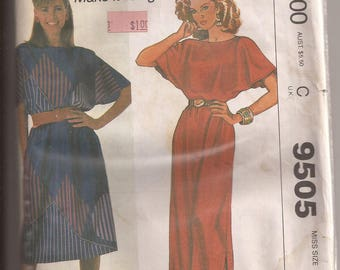 McCalls 9505 Misses Dress in 2 Lengths, Size Small (10-12). Vintage 1985