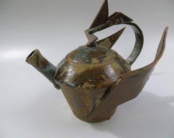Art Pottery Stylized Teapot with Wings, Hermes Helmet, Mercury Mythology