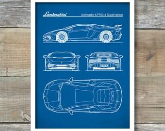 Patent Print, Auto Art, Lamborghini Aventador Blueprint, LP750-4 Superveloce, Lamborghini Poster, Lamborghini Aventador Art, P488