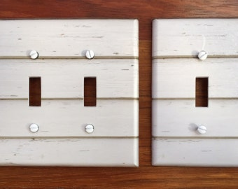 white wood siding light switch plate cover image 86  // SAME DAY SHIPPING**