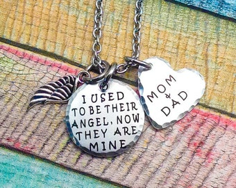 Memorial Necklace, I used to be their angel now they're mine, Loss of Parents, Loss of Grandparents, Memory Necklace, Funeral Gift, Engraved