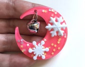 Holiday Moon with Snowflakes and Bell Hair clip (magenta)