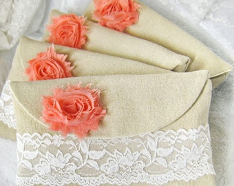 Set of 5 -  foldover bridesmaids clutch, bridesmaids wedding purses white lace flower clutches, makeup purse bags gifts (Ref: CL888)  pink