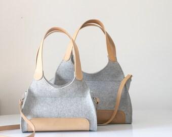 Mini Rebecca tote bag, 100% Design Wool Design Felt Tote, Tote Grey, Felt and Leather Tote, Leather handles tote