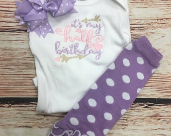 Pink lavender and gold half birthday outfit - 1/2 birthday bodysuit leg warmers and headband