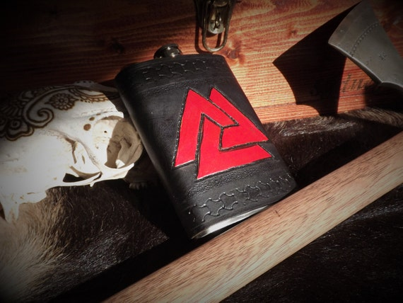 Viking Leather Flask - Valknut-  8oz Flask