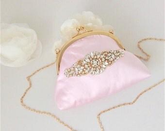Gorgeous Handmade Gold and Ballet Pink Kiss Lock Bridal Bag