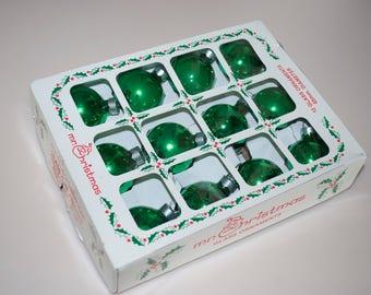 """Vintage Mr. Christmas Green Glass Ball Christmas Ornaments Box Set of 12 1.5"""""""