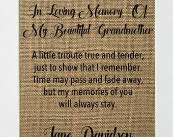"""Burlap Sign """"In Loving Memory Of My Beautiful Grandmother..."""" CUSTOM OPTION Memorial Sign Rustic Shabby Chic Vintage/Loved One /Grandparents"""