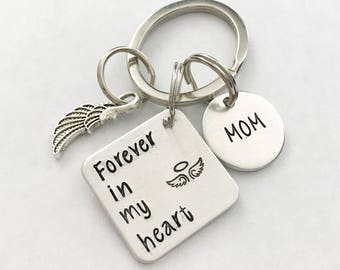 Memorial keychain - loss of loved one - Hand stamped keychain - Loss keychain - Forever in my heart - Angel watching over me