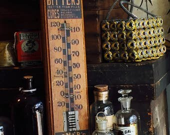 Lash's Bitters and Homer's Ginger Brandy Antique Advertising Thermometer c.1900