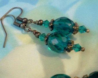 Teal Earrings, Vintage Style Earrings, Crystal Earrings, December Birthstone Jewelry, Handmade, Aqua Earrings, Antique Style Earrings, Boho
