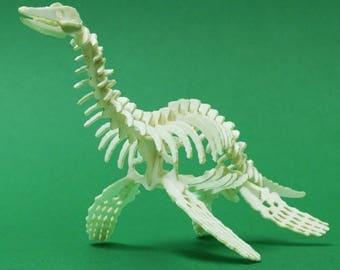 Plesiosaur Tiny Dinosaur Skeleton Bare Bones - Paper Puzzle Sculpture Model